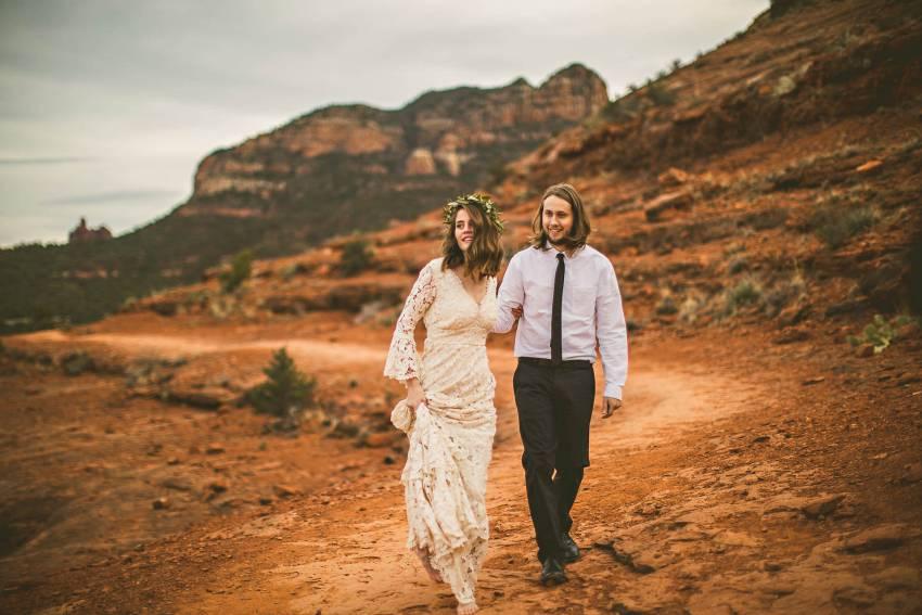Couple walking in Sedona