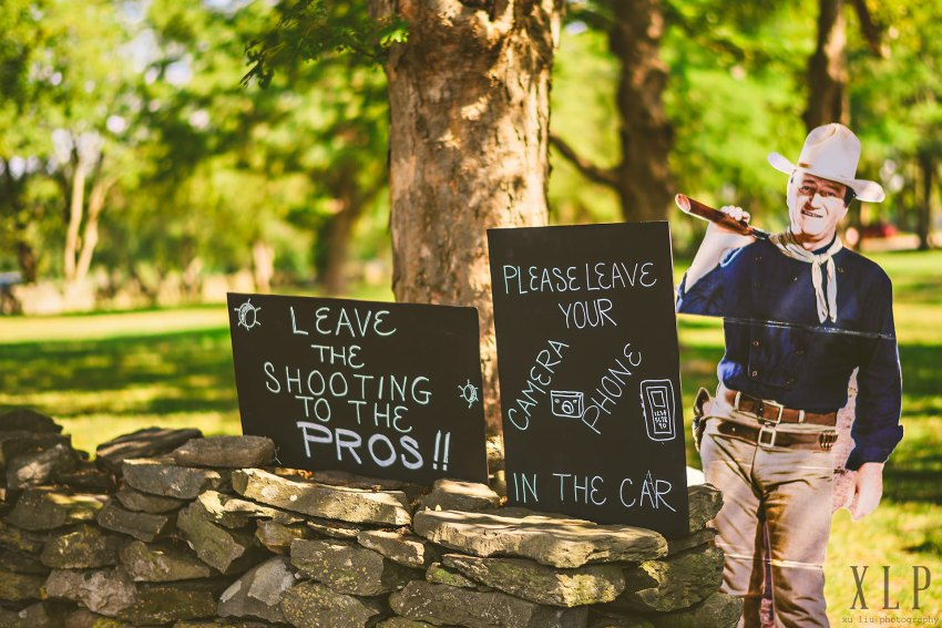 John Wayne unplugged wedding sign