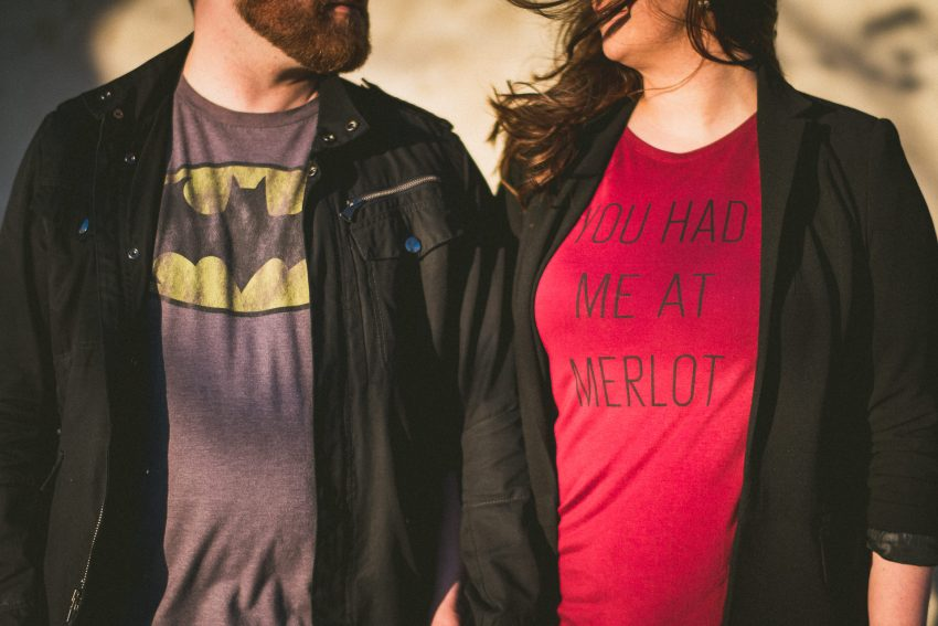 Fun engagement session shirts