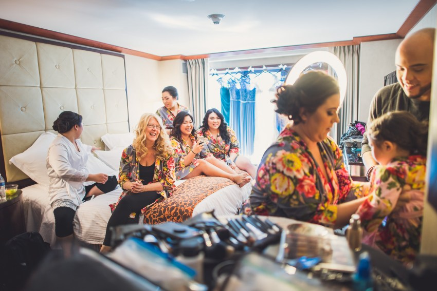 Bridesmaids preparation in hotel