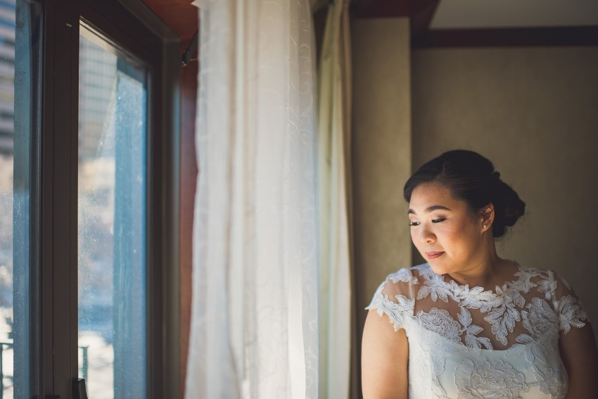 Boston bridal portrait by window
