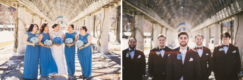 Wedding party portraits in Christopher Columbus Park