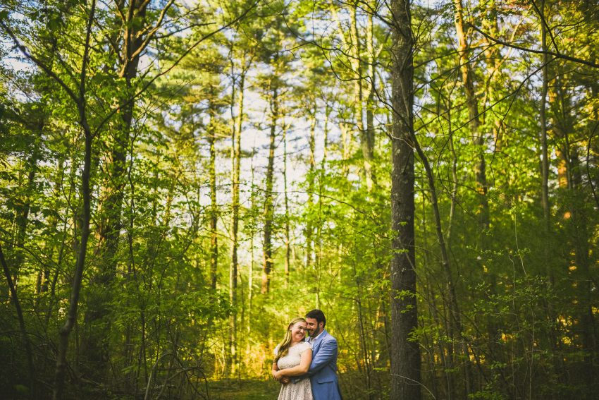 Sunset woods engagement photos