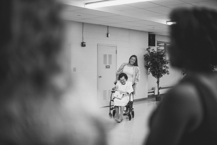 Bride seeing grandmother