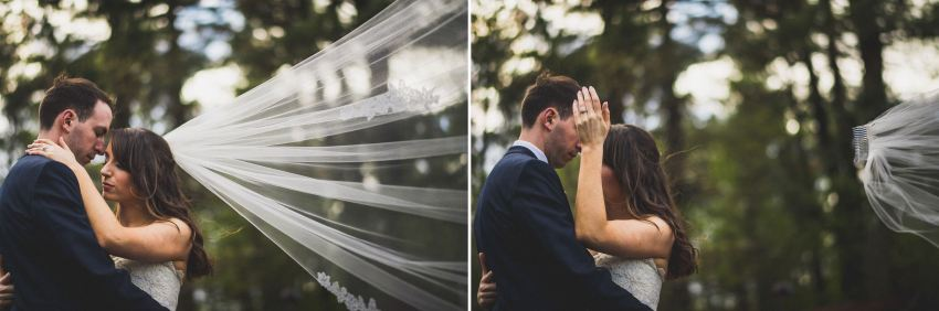 Windy veil wedding portraits
