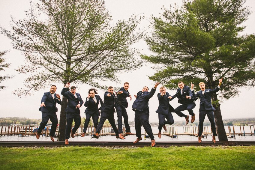 Groom and groomsmen floating