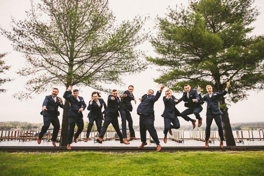 Groom and groomsmen floating