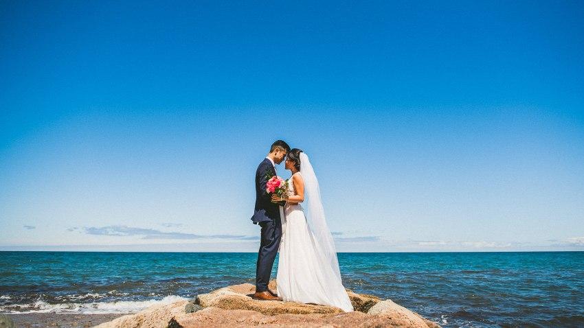 Plymouth beach wedding portrait