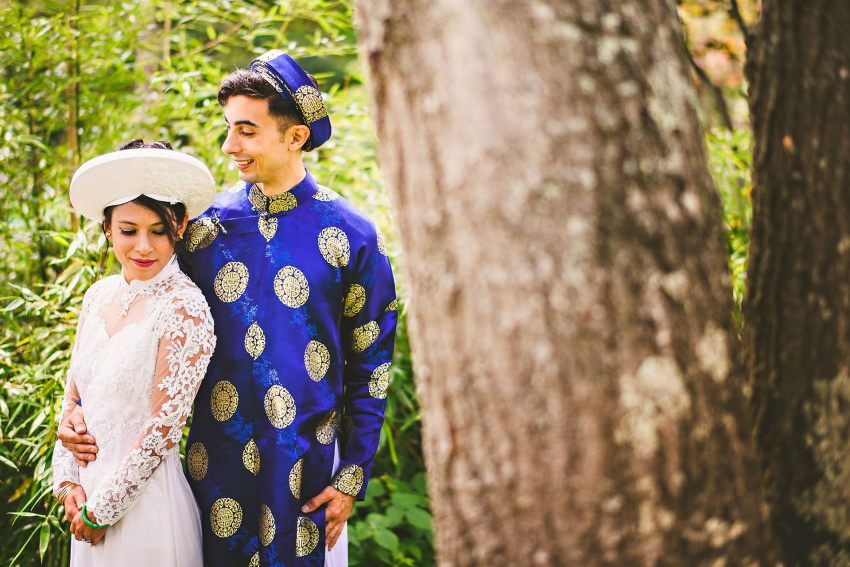 Attleboro Vietnamese backyard wedding portrait