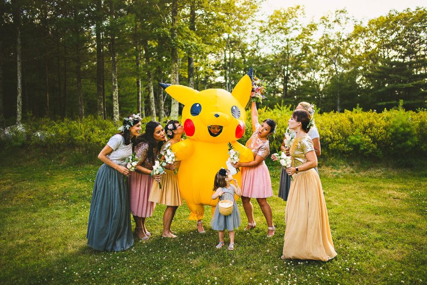 Pikachu bride with wedding party