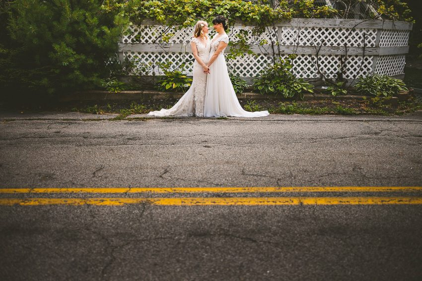 Wedding portrait across street