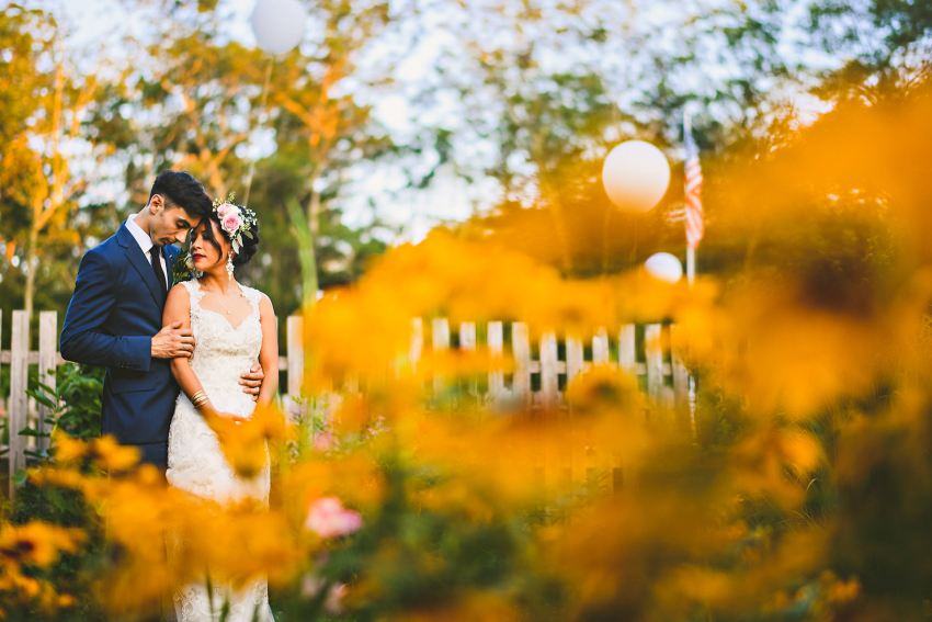 Wedding portraits with flowers