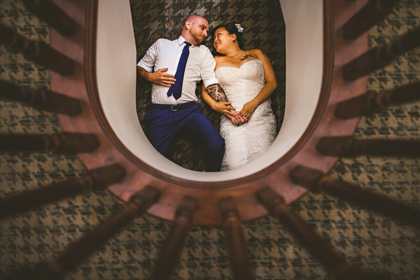 Creative Ocean Edge wedding photo in stairway