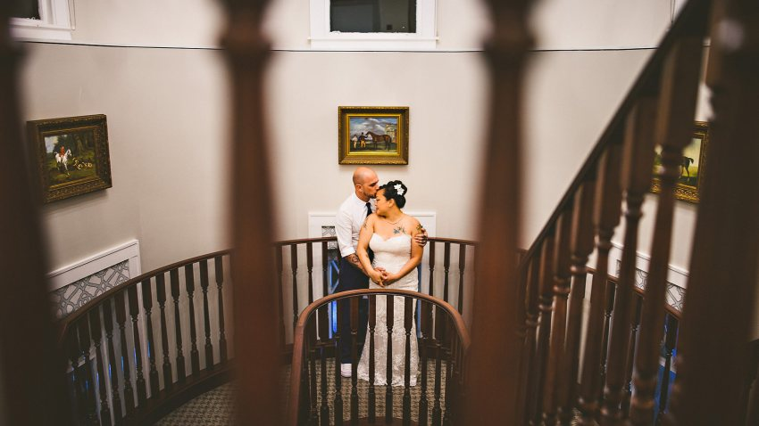 Wedding photos on stairs