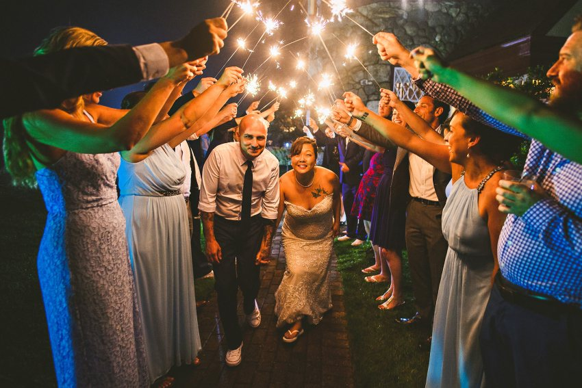 Cape Cod wedding sparkler exit