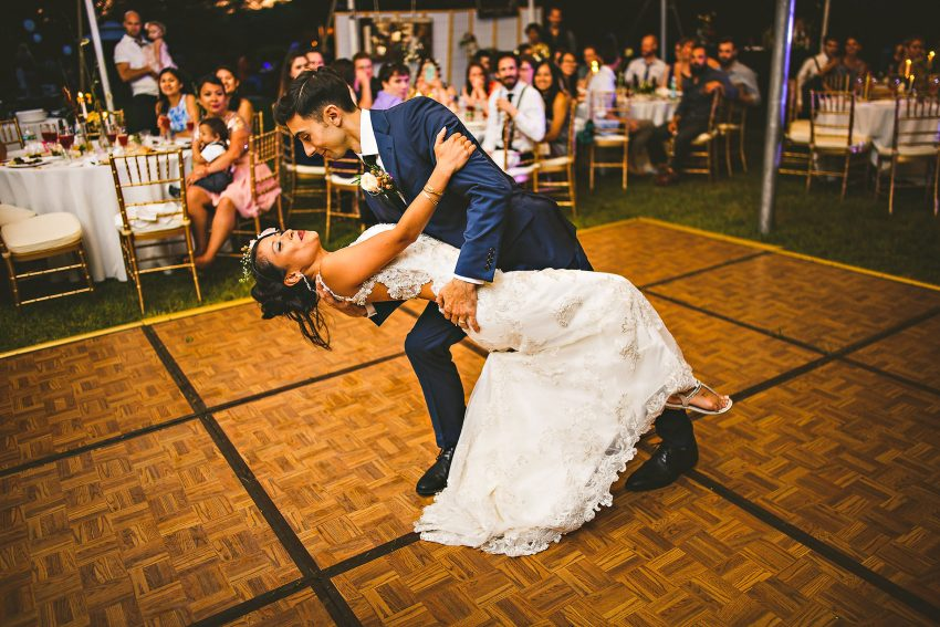 Rhode Island backyard wedding first dance
