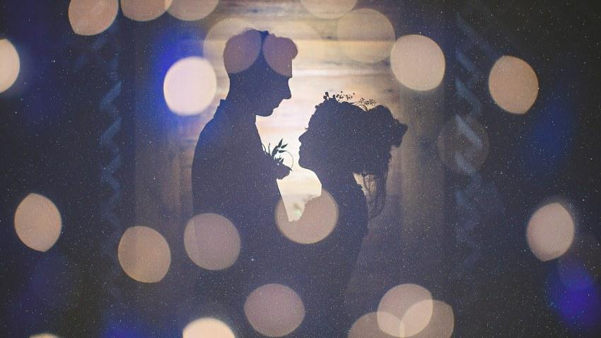 Creative starry multiple exposure wedding portrait