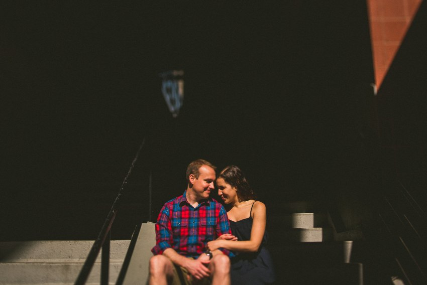 Creative downtown Boston engagement portraiture