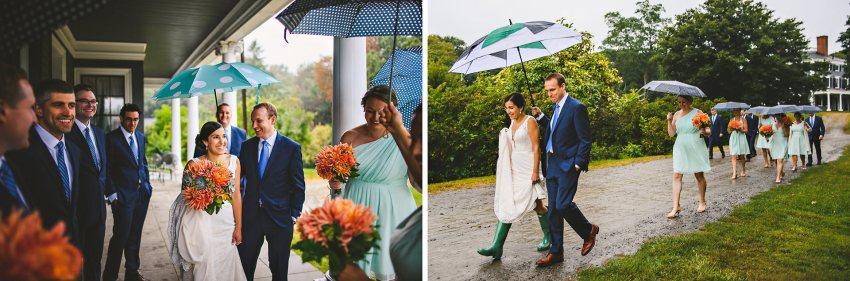 Codman Estate wedding party walking in the rain