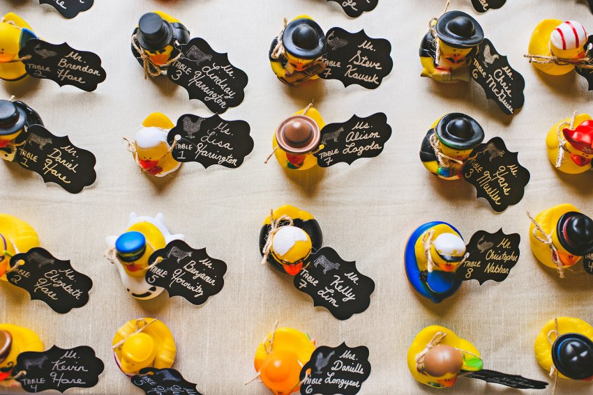 Hampshire House wedding rubber duck name cards