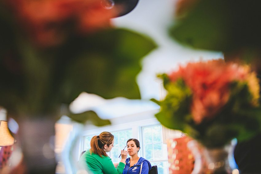 Bridal makeup in dining room