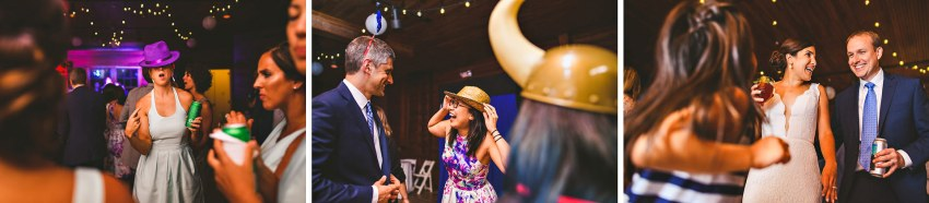 Wedding guests dancing with hats