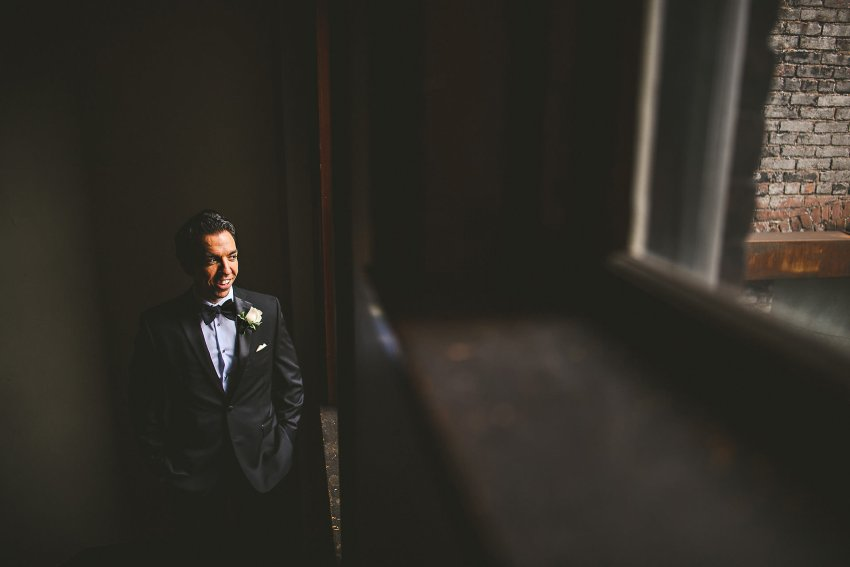 Dramatic Beacon Hill groom portrait