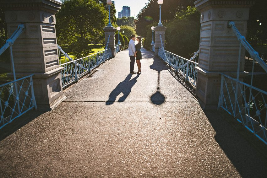 Boston Public Garden bridge engagement photo