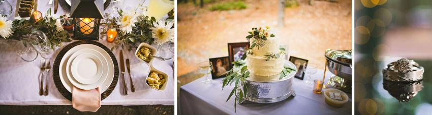 Homemade wedding cake and details