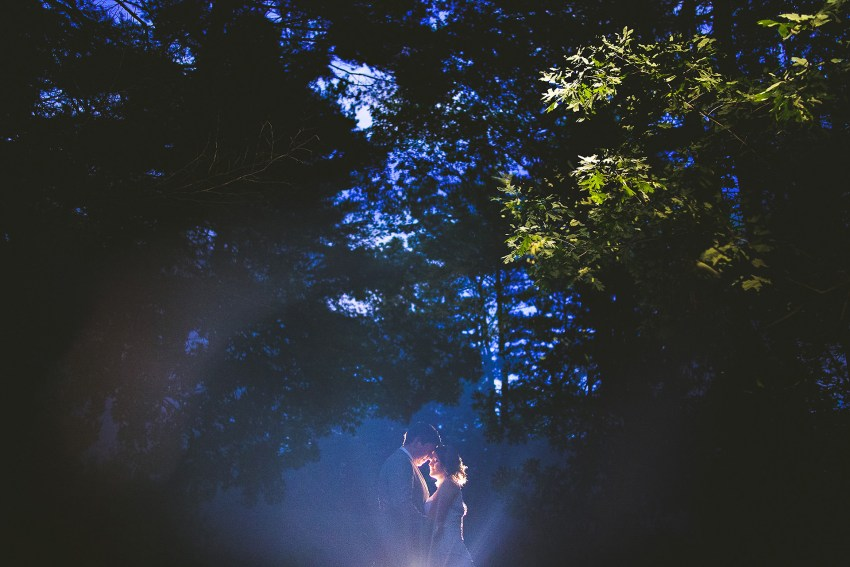 Artistic nighttime wedding portraiture