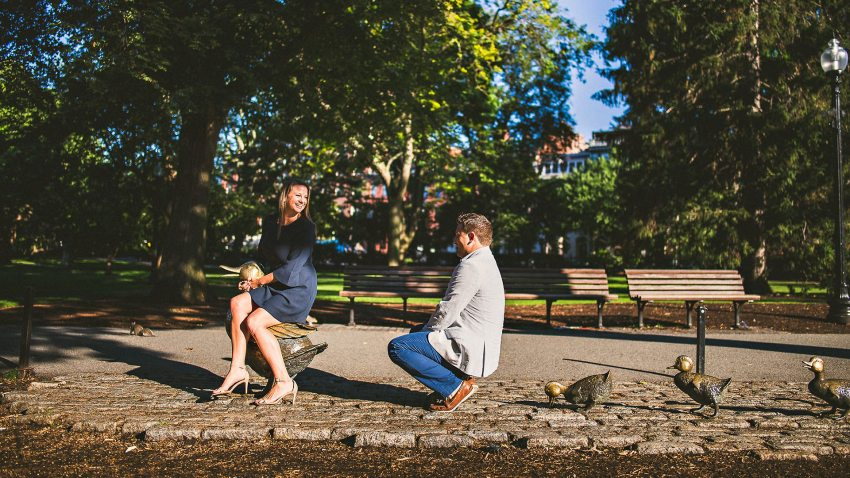 Couple sitting on ducks in Public Garden