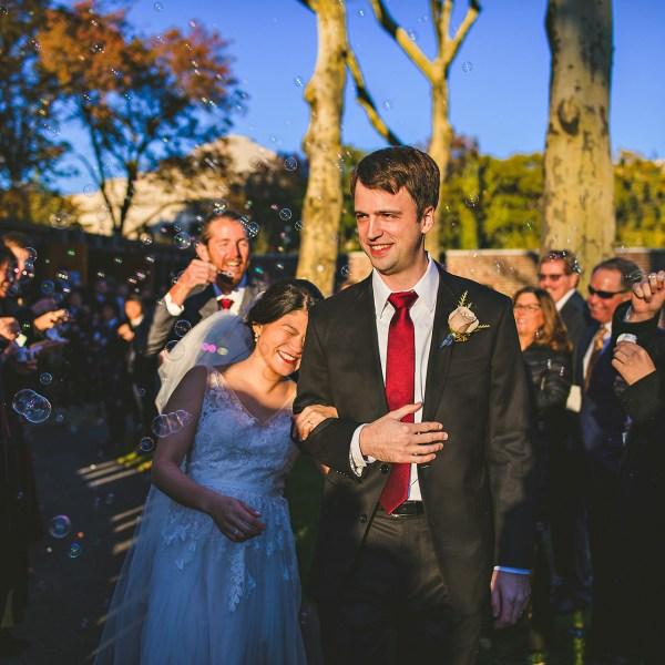 Bright MIT wedding bubble exit