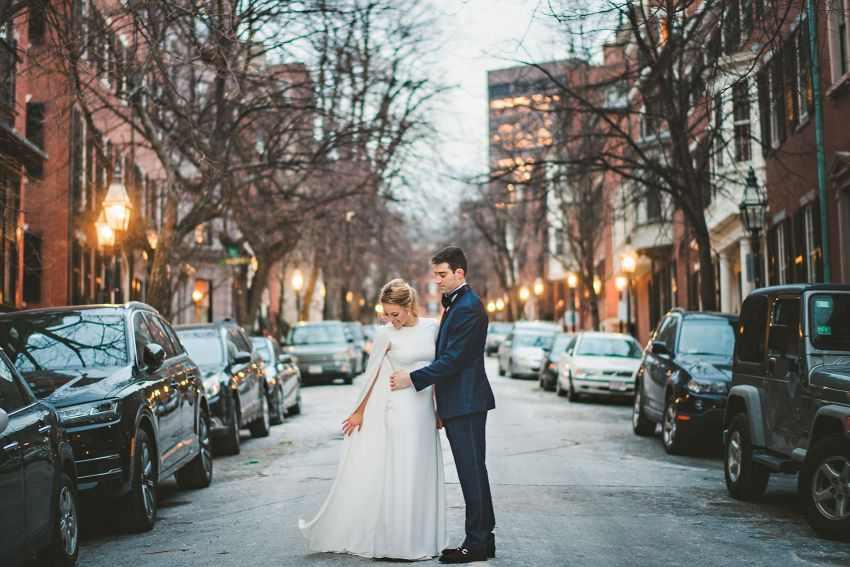 Beacon Hill winter wedding portraits
