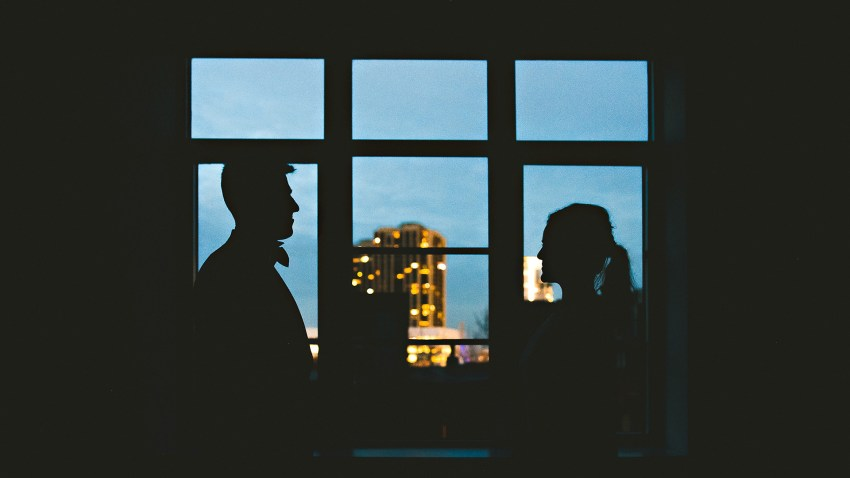 Artistic Beacon Hill wedding silhouette