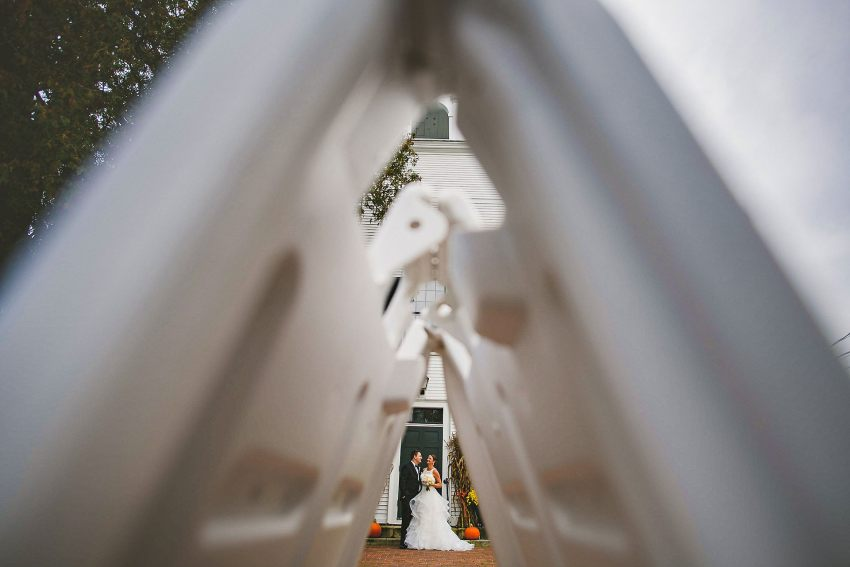 Creative wedding portrait with street signs