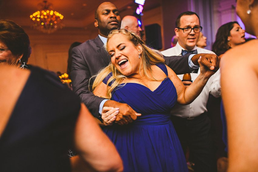 Bridesmaid dancing at wedding