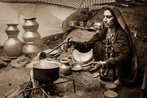 A nomadic woman serving us chai in her seasonal home - Eastern Kashmir -
