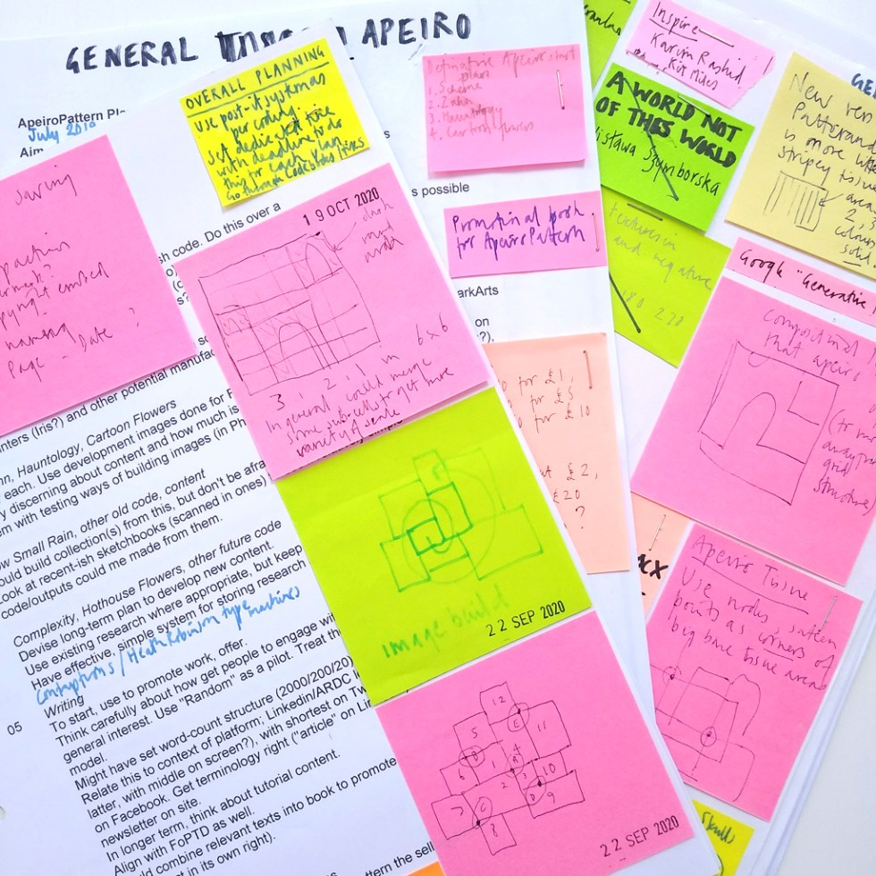 Planning and sticky notes for the development of ApeiroPattern from the FAQs and info for students page