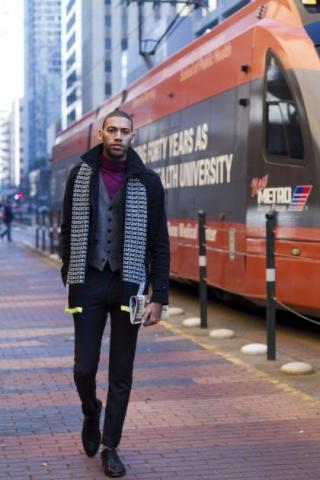 """The Urban Savant""Wool Coat, Tweed Vest, Cashmere Turtleneck, Wool Trousers, Cap Toe Oxfords"