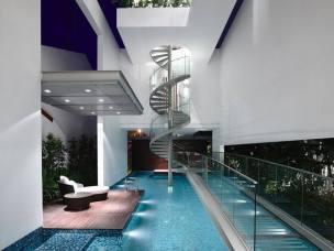 Pool under stairs