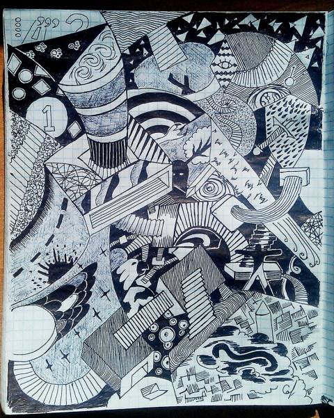 рисунок абстрактный чёрной гелькой