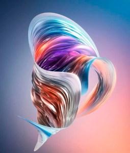 Красивый абстрактный рисунок в виде 3д ленты разных цветов