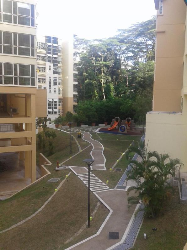 Children's playground next to the apartments block for married couples. Детская площадка возле блока для семейных пар.