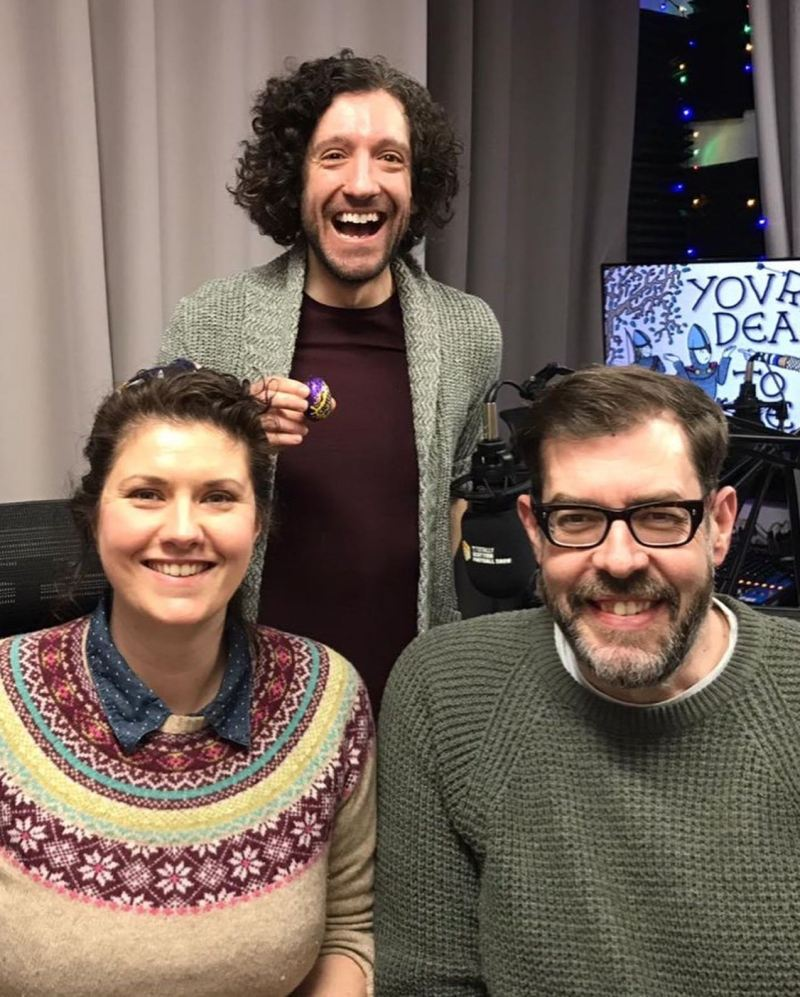 Recording the Chocolate episode of You're Dead to Me with Greg Jenner and Richard Osman