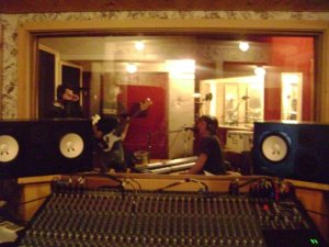 In the studio with Shryne recording 'Here and Now' in February 2008. Photo Courtesy of Jon Brennan.