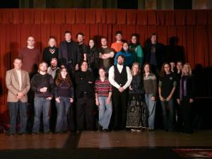 Alex with the cast and crew of Nightsong, November 2009. Photo Courtesy of Kari Tieger.
