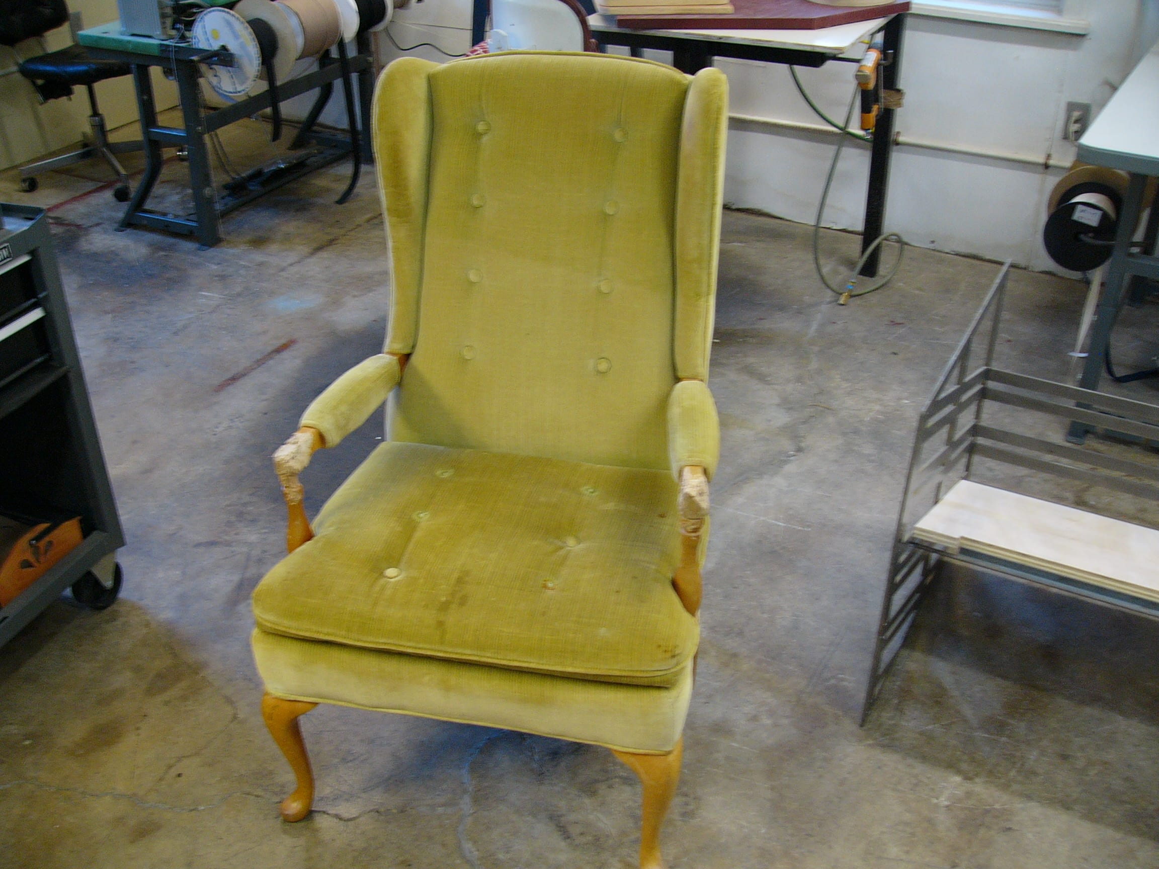 antique platform rocking chair with springs non rolling desk wingback armrest replacement