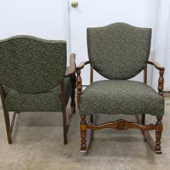 Antique Leather Chair Repair Wicker Chairs And Coffee Table Two Colonial Style Restoration Upholstery