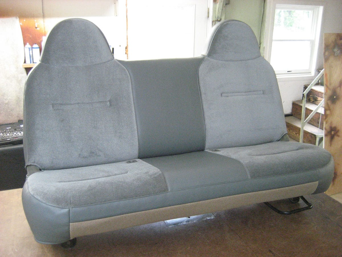 Mixed Fabric and Leather Auto Seat Upholstery Repair