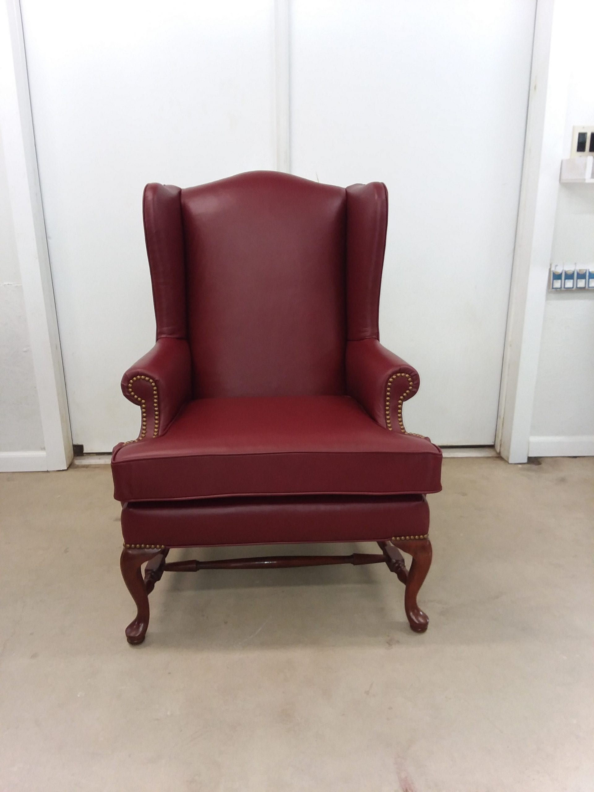 Burgundy leather wingback chair  Upholstery Shop